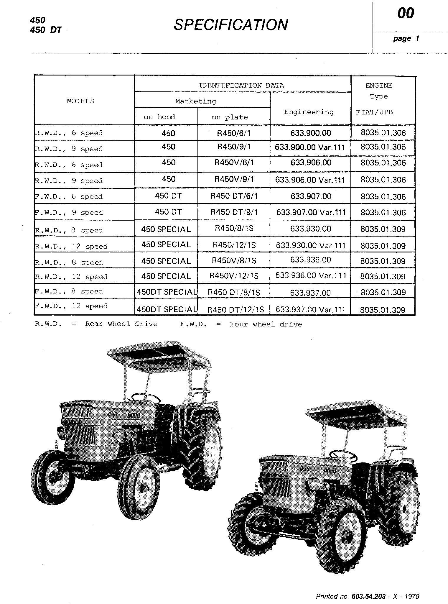 Fiat 450, 450S, 450 DT, 450 DTS Tractor Service Manual (6035420300) - 1