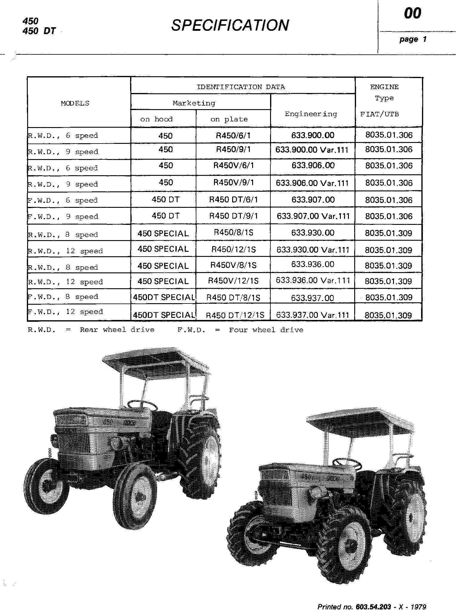 Fiat 450, 450S, 450DT, 450DTS Tractor Service Manual (6035420301) - 1