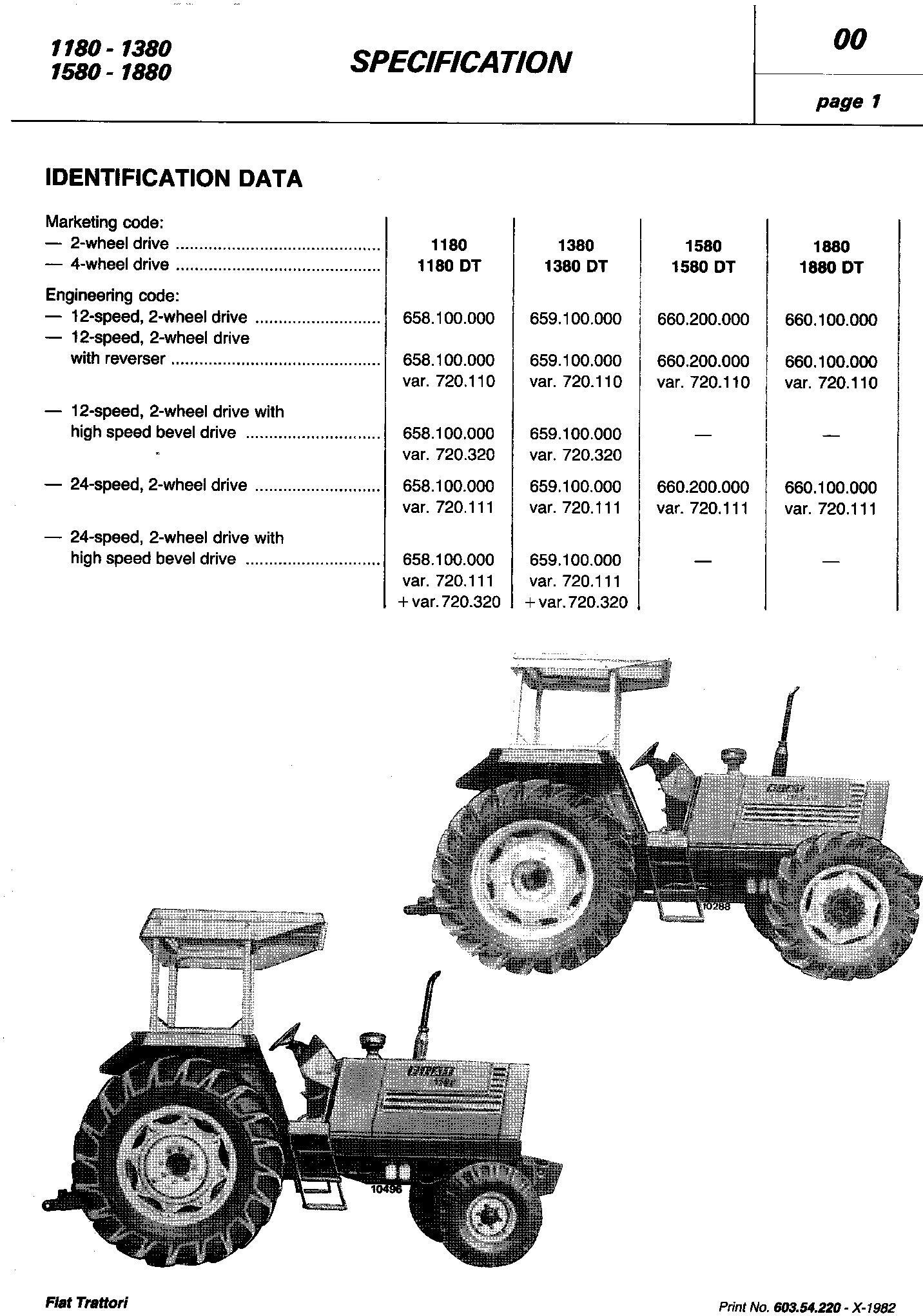 Fiat 1180, 1280, 1380, 1580, 1880 (DT) Tractor Service Manual (6035422000) - 1