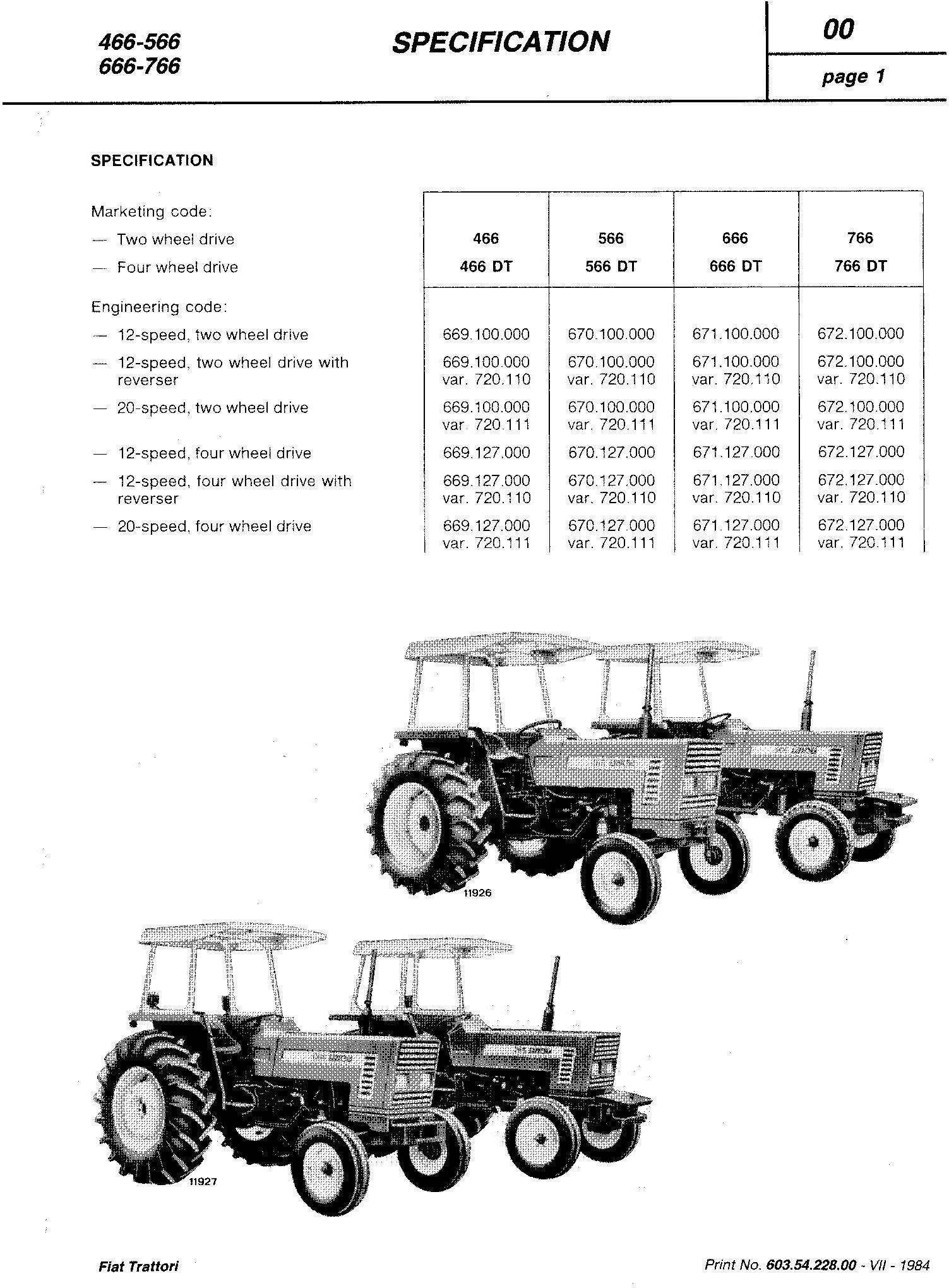 Fiat 466, 466DT, 566, 566DT, 666, 666DT, 766, 766DT Tractor Service Manual (6035422800) - 1
