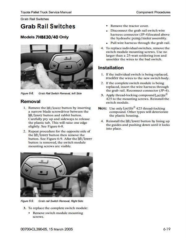Toyota 7HBC30,7HBC40,7HBE30,7HBE40,7HBW30, 7TB50 Pallet Walkie (SN.30001-) Service Manual (CL390-05) - 1