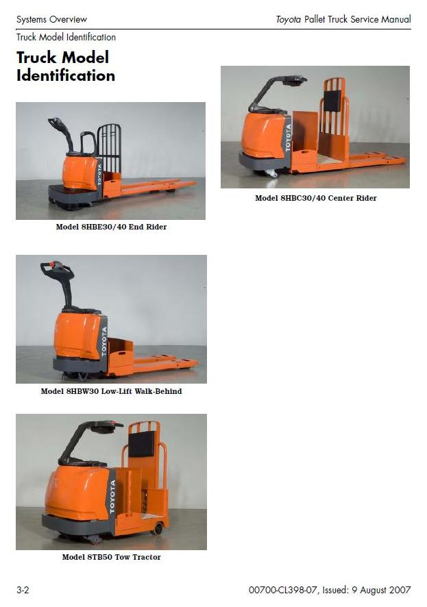 Toyota 8HBC30, 8HBC40, 8HBE30, 8HBE40, 8HBW30, 8TB50 Pallet Truck Workshop Service Manual (CL398-07) - 1