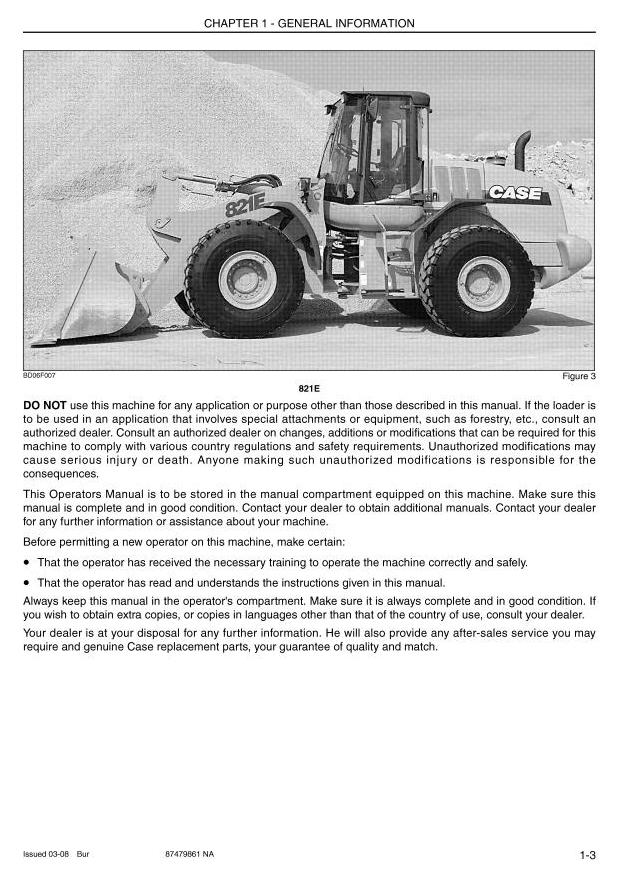 Case 721E, 821E (Tier 3) Front Loader Operating and Maintenance Instructions - 3