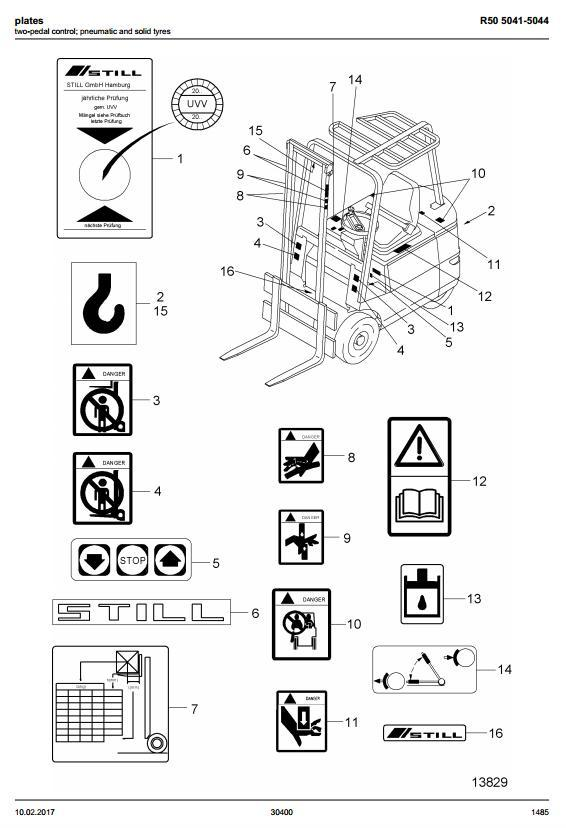 Still R50-10, R50-12, R50-15 Electric ForkLift Truck Series 5041, 5042, 5043 5044 Spare Parts Manual - 1