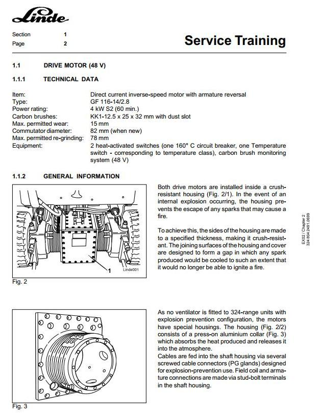 Linde E15, E16 Explosion Protected Electric Forklift Truck 324-02 Series Service Training Manual - 1