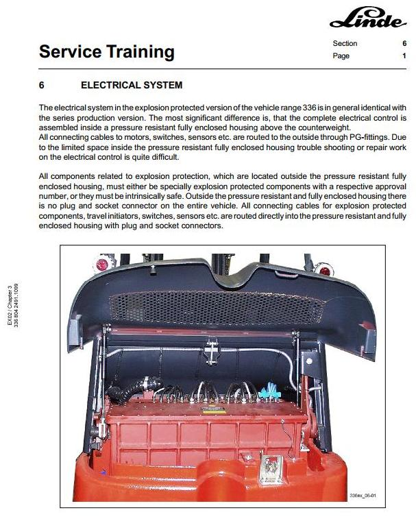 Linde E25, E30 Explosion Protected Electric Forklift Truck 336 Ser. Service Training Workshop Manual - 2