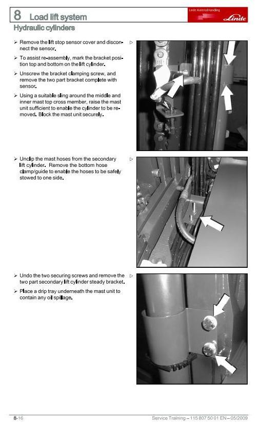 Linde R14, R16, R20 (, N,HD) Electric Reach Truck 115-03 Series Service Training Workshop Manual - 2