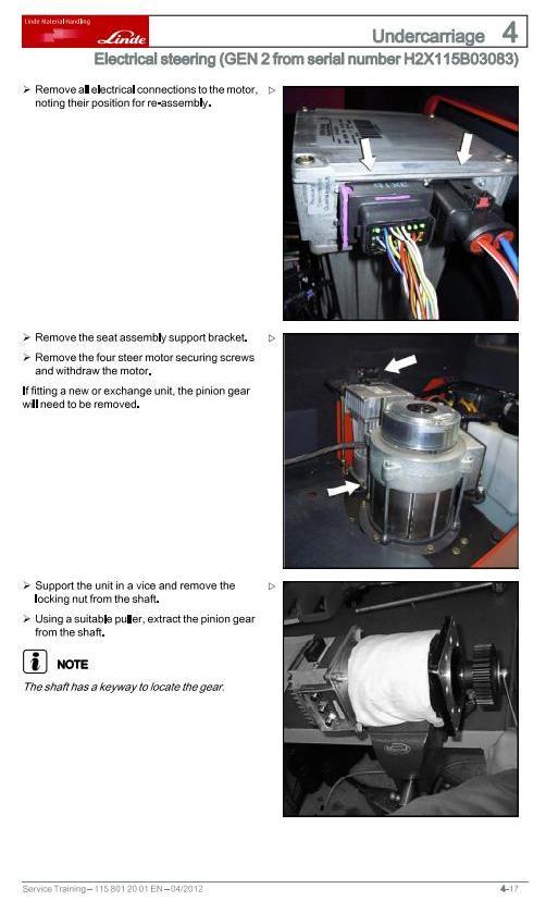 Linde R10C, R12C, R14(,C,N); R16 & R20(,N,HD) Reach Truck 115-11/12 Series Service Training Manual - 2