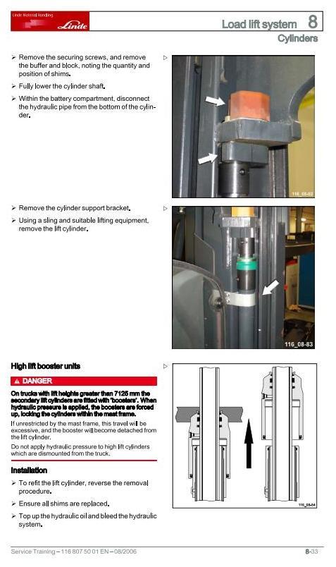 Linde R14X, R16X, R17X, R17XHD Electric Reach Truck 116 Series Service Training (Workshop) Manual - 2