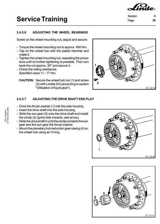 Linde C80/3, C80/4, C80/5, C80/6 Container Handler 317 Series Service Training (Workshop) Manual - 2