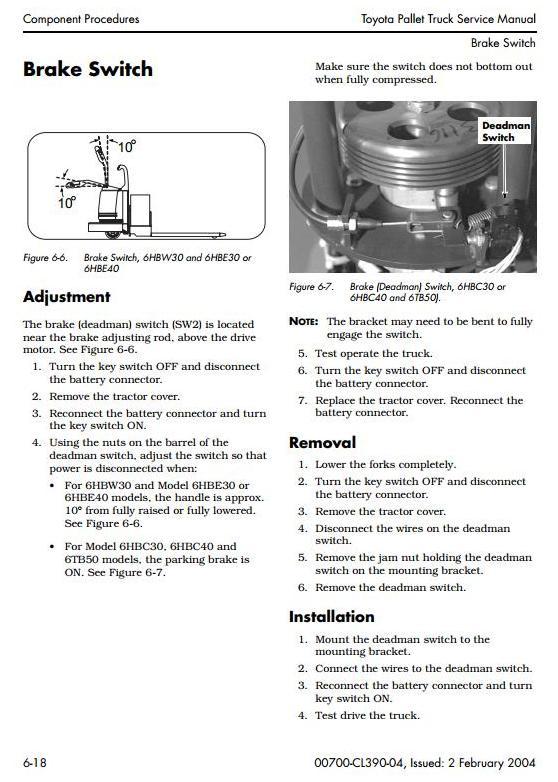 Toyota 6HBC30, 6HBC40, 6HBE30, 6HBE40, 6HBW30, 6TB50 Electric Pallet (SN:27000-up) Service Manual - 1