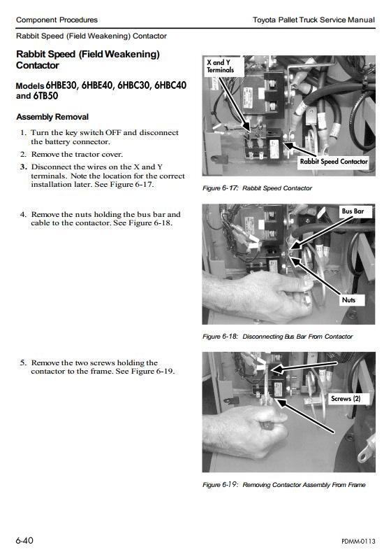 Toyota 6HBC30,6HBC40,6HBE30,6HBE40,6HBW30, 6TB50 Electric Pallet Truck SN:24000-26999 Service Manual - 1