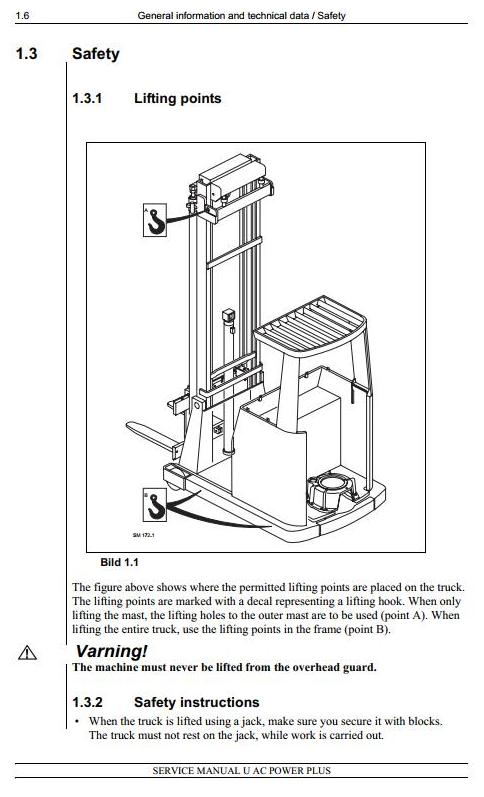 Atlet UFS, UHS, UNS, UNN, URF, USS Series & Linde R25F Electric Reach Truck Service Workshop Manual - 1