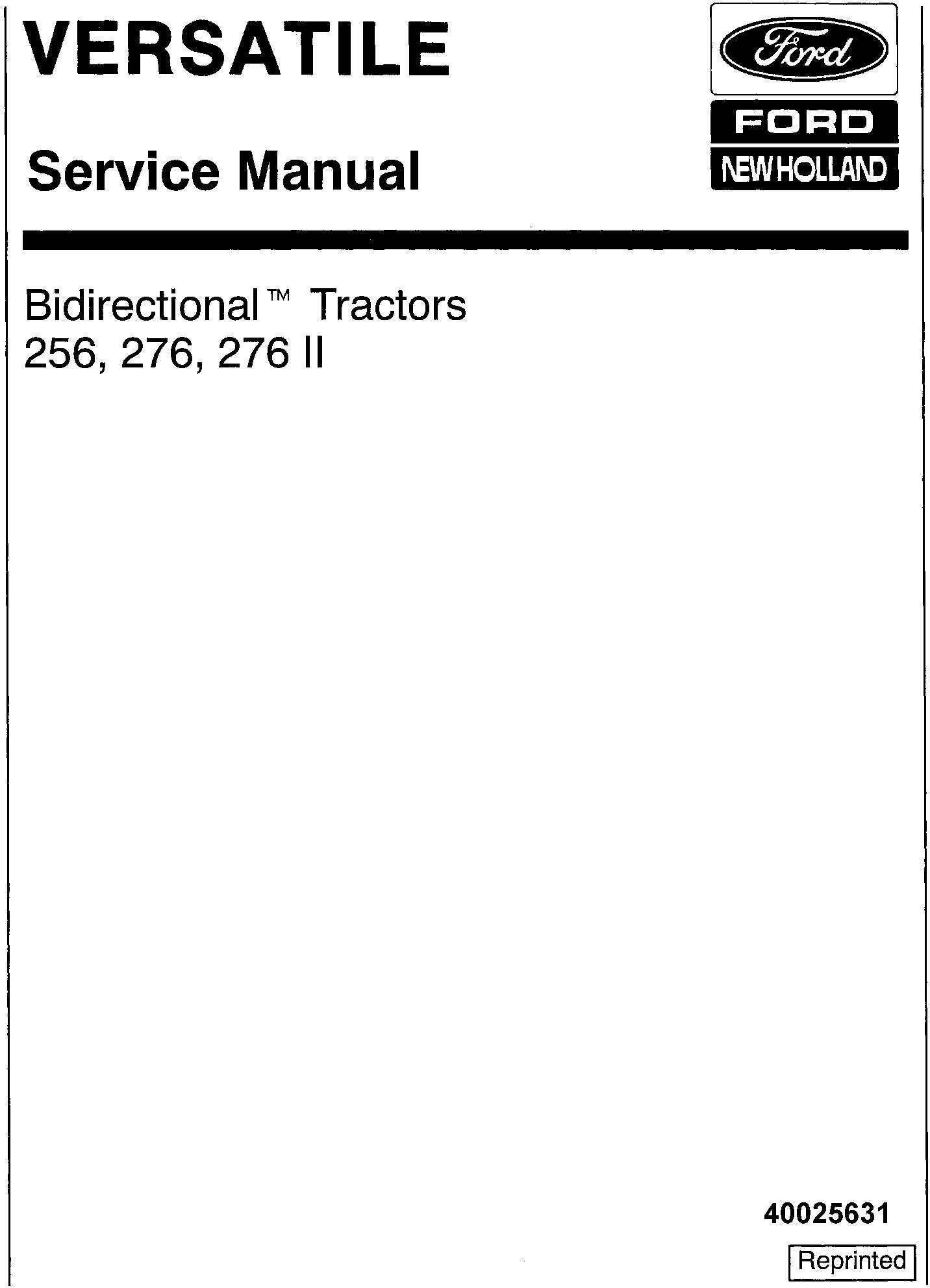 Ford 256, 276, 276 II Bi-directional Versatile Tractor Service Manual