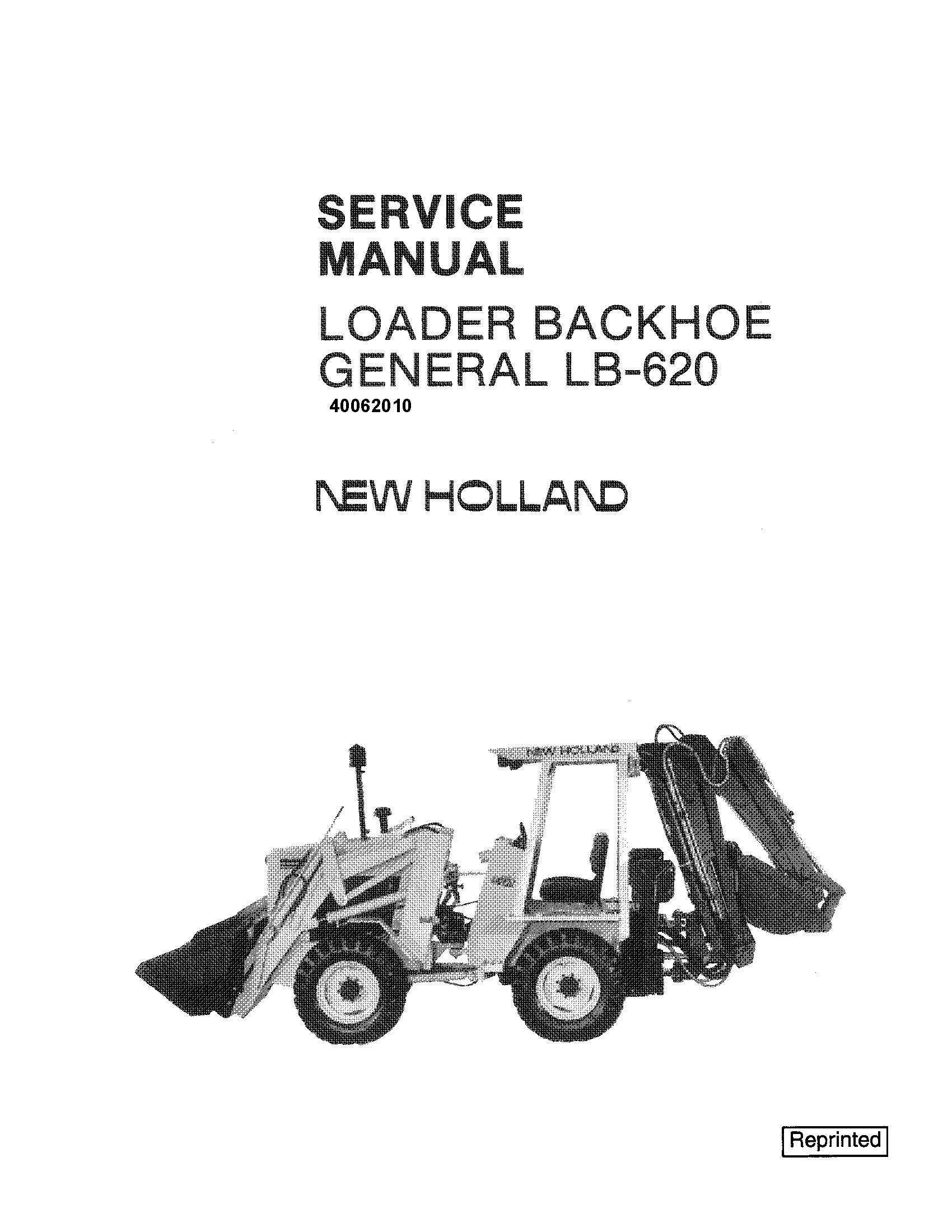 New Holland LB620 Backhoe Loader Service Manual