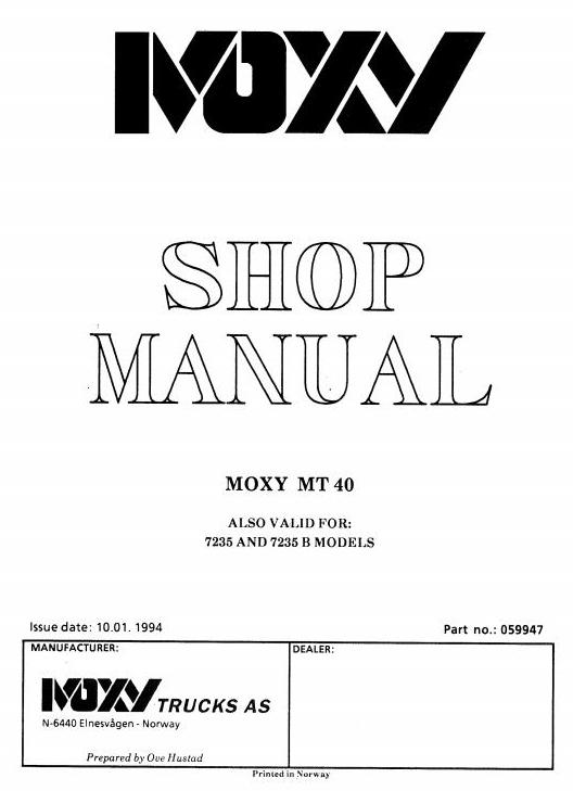 Doosan / Moxy MT40 Articulated Dump Truck Workshop Service Manual