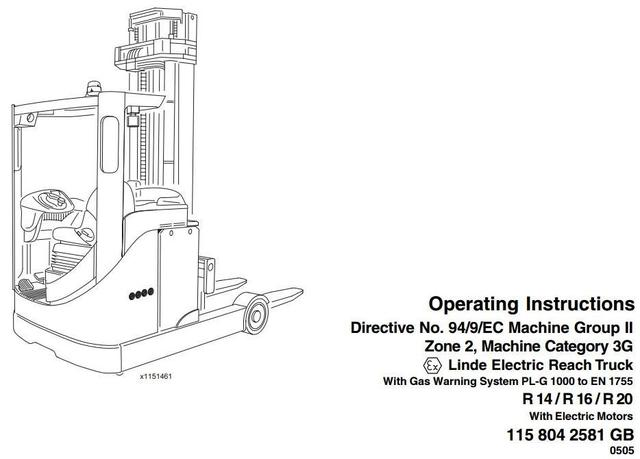 Linde R14, R16, R20 Electric Reach Truck 115 Series Explosion Protected Operating Instructions