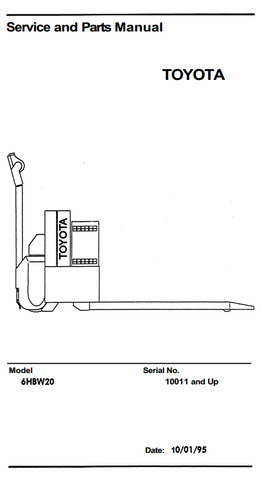 Toyota 6HBW20 Electric Pallet Truck (SN.10011-17000) Workshop Service Manual