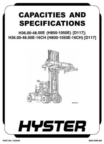 Hyster H36.00E, H40.00E, H44.00E, H48.00E Forklift Truck D117 Serie Workshop Service Manual (Europe)