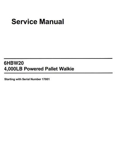 Toyota 6HBW20 Electric Pallet Truck (SN.17001 and up) Workshop Service Manual (PDMM-0105)