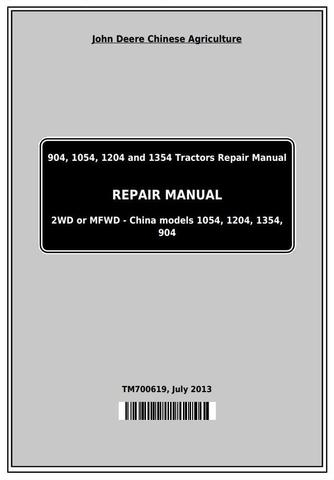 John Deere 904, 1054, 1204, 1354, 1404 China Tractors Service Repair Manual (TM700619)