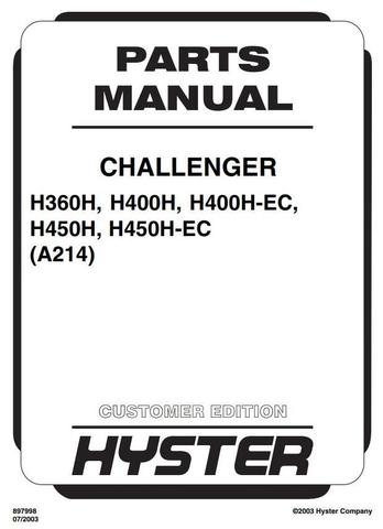 Hyster H360H, H400H, H450H, H400-EC, H450H-EC USA Lift Truck A214 Series Spare Parts Manual