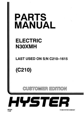 Hyster N30XMH Electric Reach Truck C210 Series (SN. before C210V-1615) Spare Parts Manual (Pre SEM)